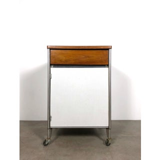 1950s Raymond Loewy Hill-Rom Walnut & White Laminate Rolling Cabinet Preview
