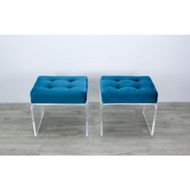 Stunning pair of minimalist waterfall Lucite benches with luxurious teal velvet cushion tops Custom made, in excellent new...