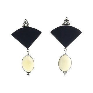 Bone & Onyx Sterling Earrings by Pueblo Artist Sam Lovato For Sale