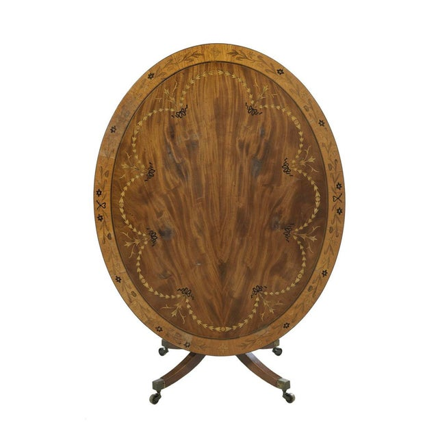 Berkey & Gay Neoclassical Inlaid Oval Table & 4 Chairs - 5 Pieces For Sale - Image 4 of 10