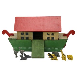 Vintage Noah's Ark W/ Animals, 11 Pcs For Sale