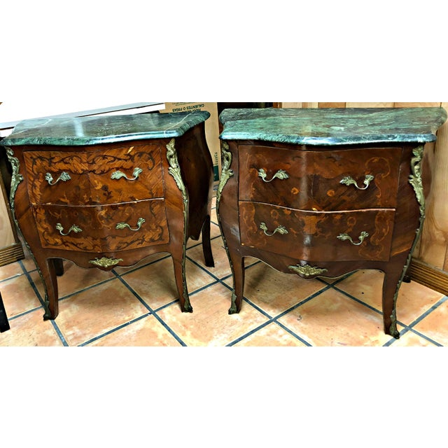 French Marquetry Inlay and Marble Top Commodes - a Pair For Sale - Image 13 of 13