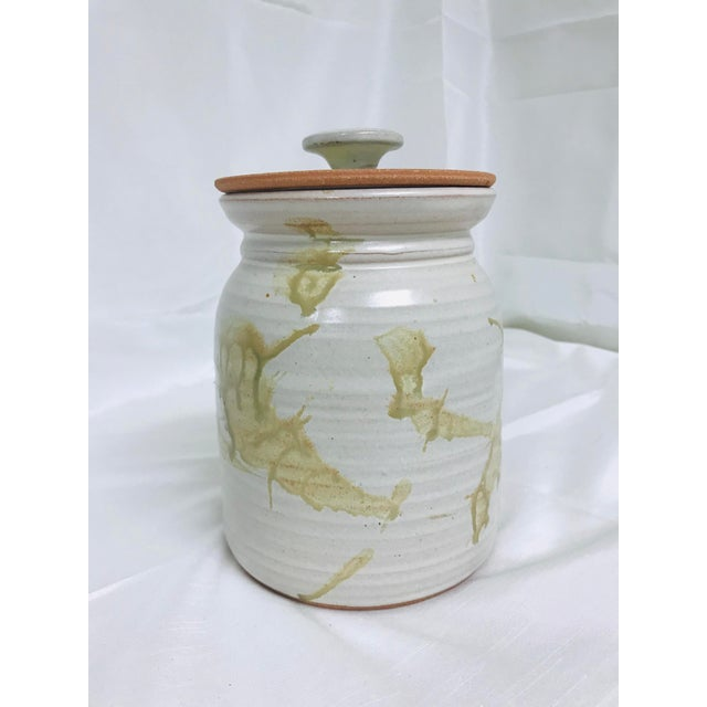 Contemporary Modern Studio Pottery Contemporary Glazed Lidded Crock Canister For Sale - Image 3 of 9