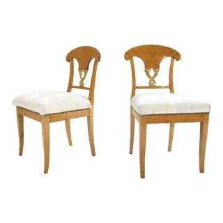 Circa 1820 Satin Birch Biedermeier Chairs Restored in Brazilian Cowhide - Pair For Sale