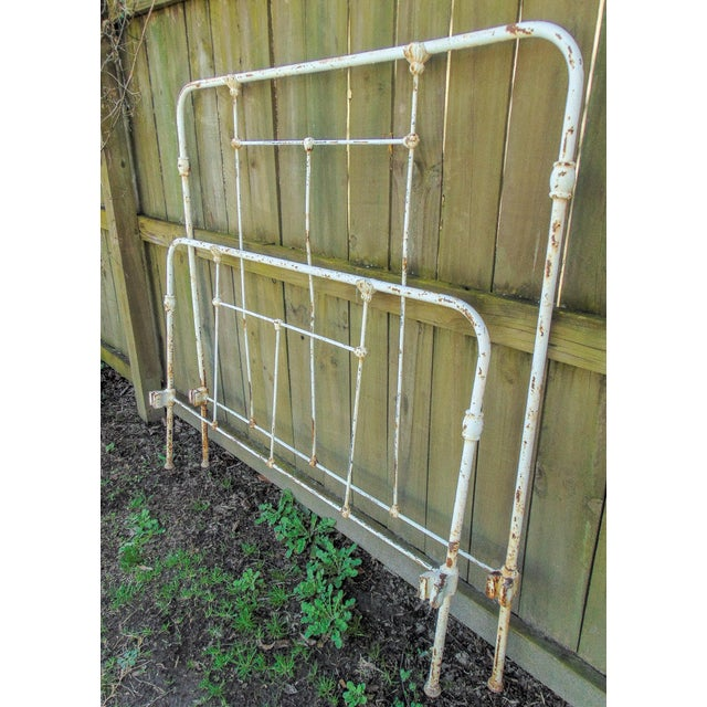 Rustic Distressed Antique Iron Headboard & Footboard For Sale - Image 3 of 10