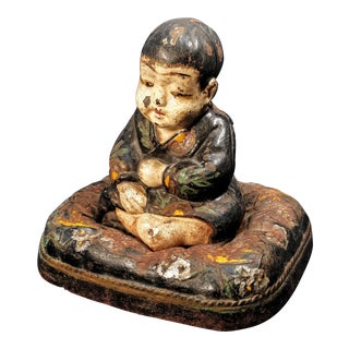 Hubley Asian Boy Cast Iron Cushion Doorstop For Sale