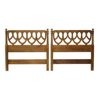 Henredon French Provincial Louis XVI Pecan Twin Headboards - Pair For Sale