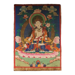 19th Century Antique Tibetan Hand Painted Buddhist Thangka For Sale