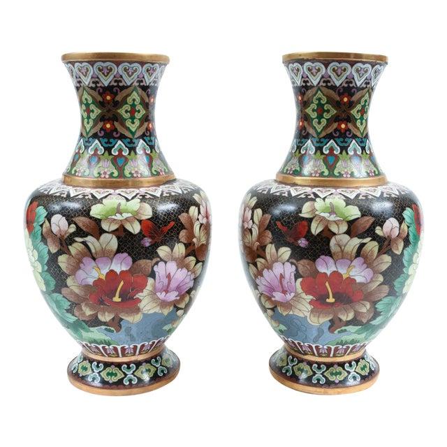 Mid-20th Century Colorful Cloisonné Decorative Vases - a Pair For Sale