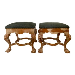 Vintage Sarreid of Spain Ornate Upholstered Ottomans, a Pair For Sale