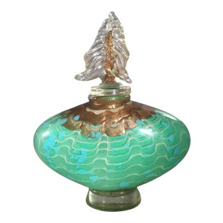 "Handblown Art Glass Cyan Green & Gold Large Ripple Perfume Bottle With ""Tree"" Finial Stopper For Sale"