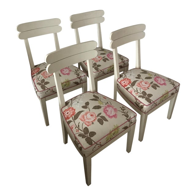 Floral Dining Room Chairs - Set of 4 - Image 1 of 7
