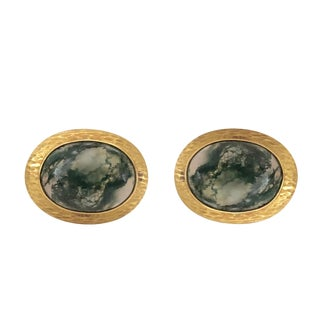 14k Gold Moss Agate Toggle Back Cufflinks For Sale
