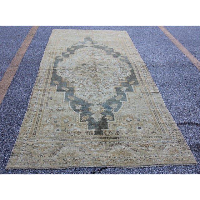 "Antique Turkish Oushak Rug - 4'10"" X 10'5"" - Image 2 of 5"
