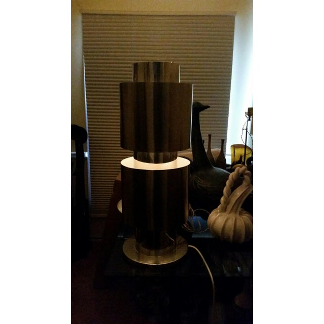 Silver Stainless Steel Table Lamp Attributed to Willy Rizzo For Sale - Image 8 of 10