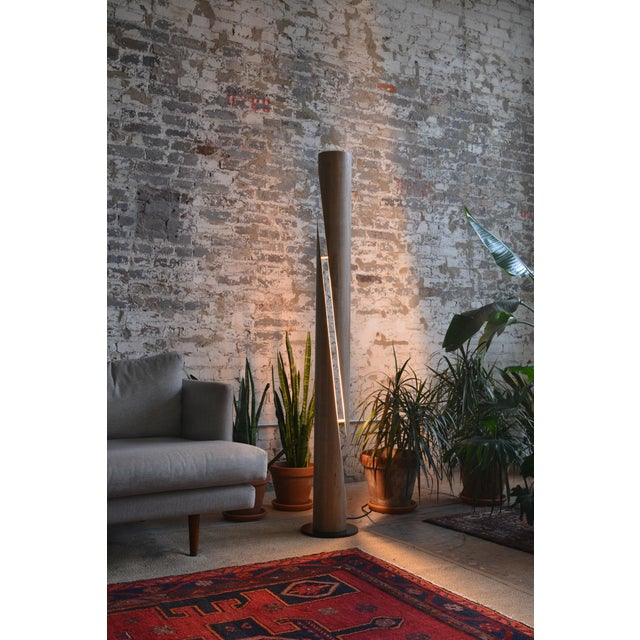 Contemporary Shear - Minimalist Wooden Column Led Lamp For Sale - Image 3 of 7