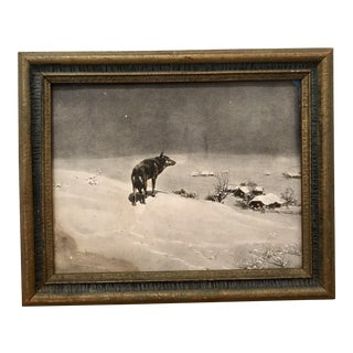 "Antique ""Lone Wolf"" Framed Print by Alfred Kowalsky-Wierusz For Sale"