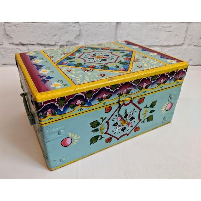 Vintage Mid-Century Folk Art Painted Wooden Box For Sale - Image 11 of 11