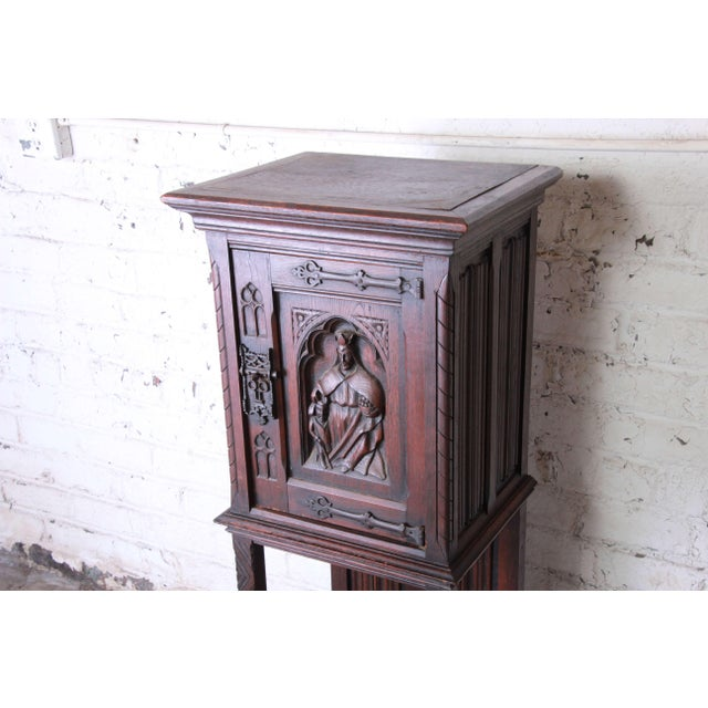 Mid 19th Century 19th Century Belgian Dark Walnut Gothic Bar Cabinet For Sale - Image 5 of 10