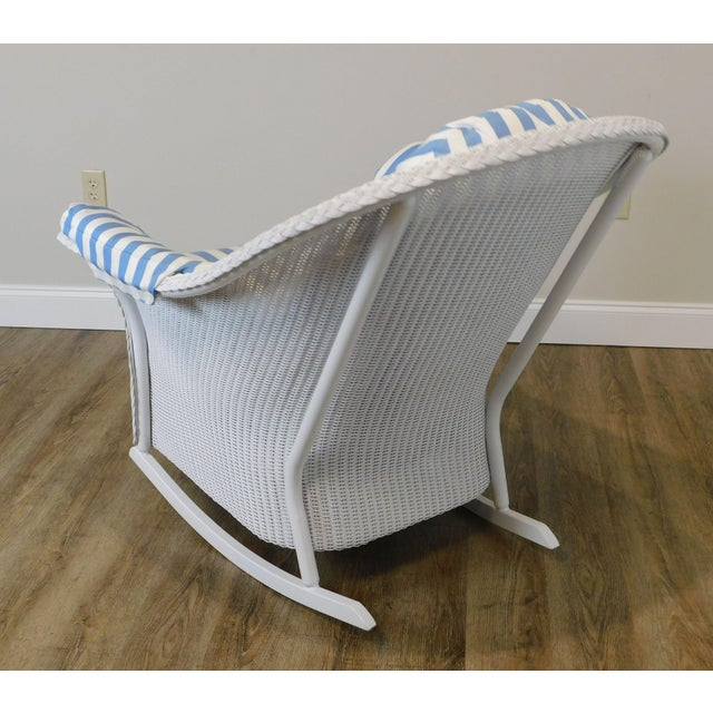Early 21st Century LLoyd Flanders White Wicker Pair Patio Porch Rockers For Sale - Image 5 of 13