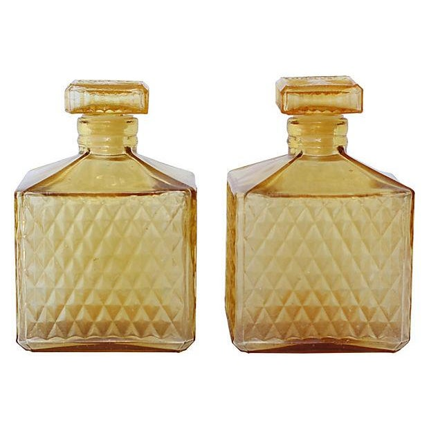 Amber Quilted Decanters - Pair - Image 1 of 3