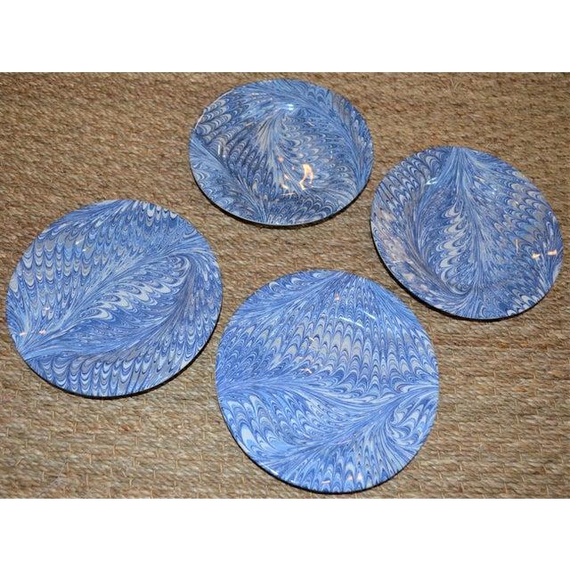 2010s Delft Blue Firenze Marbleized Ceramic Cocktail Plates - Set of 4 For Sale - Image 5 of 10