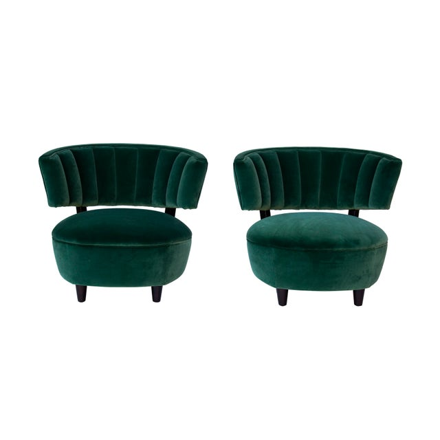 William Haines Pair of Emerald Green Velvet Channel Back Chairs After Billy Haines For Sale - Image 4 of 12