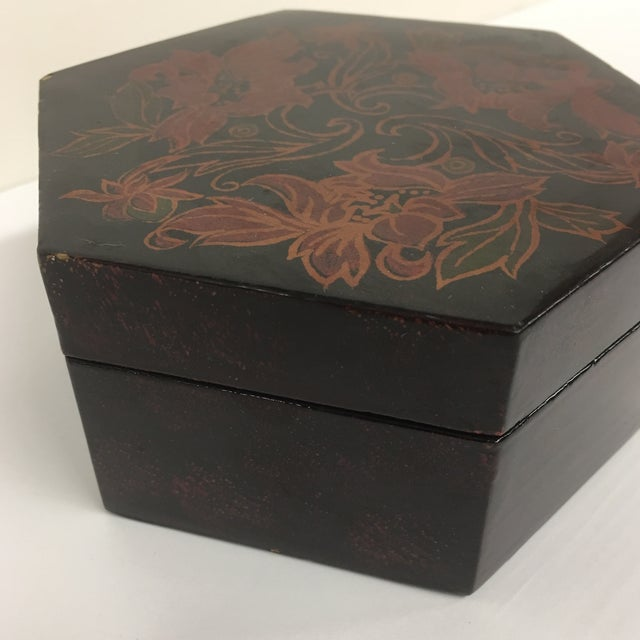 Vintage Black Lacquer Hexagon Box For Sale - Image 5 of 11