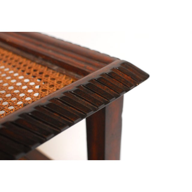 Three Tiered Caned Walnut Side Table - Image 5 of 6