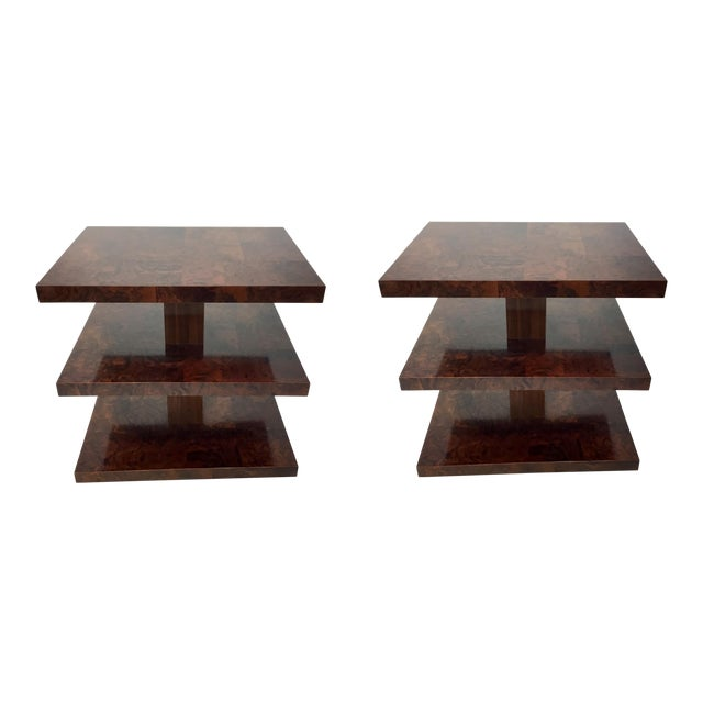 Mid Century Modern Style Universal Co Burl Wood Side Tables Pair