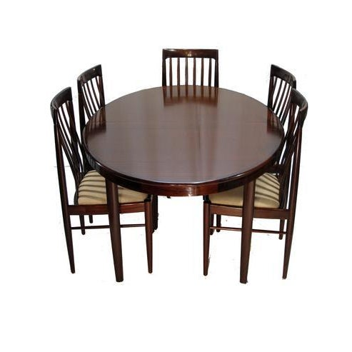 HW Klein h.w. Klein Rosewood Dining Table W/ Two Leaves and Six Highback Chairs For Sale - Image 4 of 4