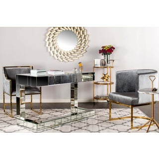 Circular Gray Velvet & Gold Dining Accent Chair Preview