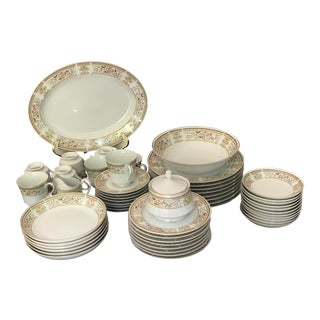 1940s Vintage Daphne by Wallace Heritage 56 Pieces, Serving Set for 8 For Sale