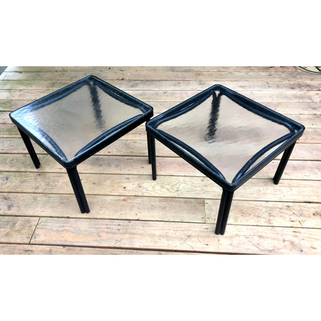 1960s 1960s Mid-Century Modern Brown Jordan Tamiami Kantan Black Metal Side Tables - a Pair For Sale - Image 5 of 5