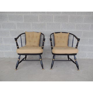 Rousseau Bros. Barrel Back Spindle Black Painted Club Chairs-A Pair Preview