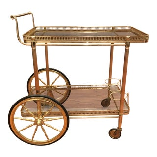 1950s Art Deco Glass and Brass Bar Cart For Sale