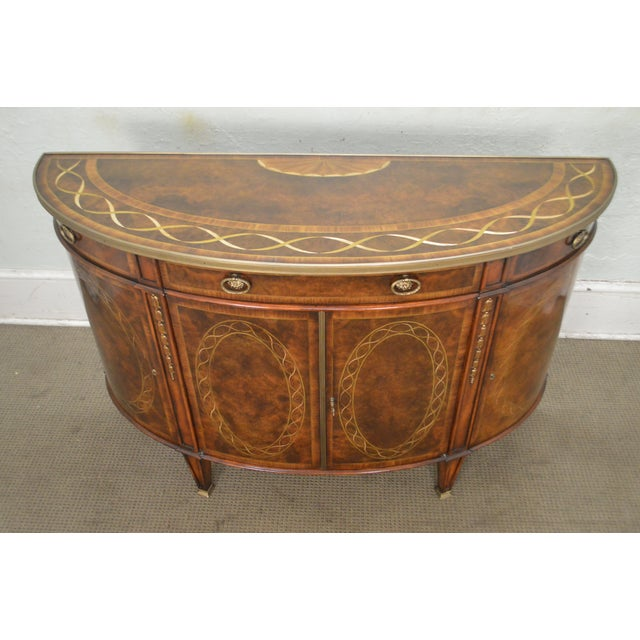 Gold Theodore Alexander Inlaid Burl Wood Demilune Bow Front Side Cabinet Console For Sale - Image 8 of 13