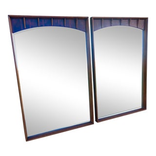 1950s Vintage Rosewood and Walnut Mirrors- A Pair For Sale