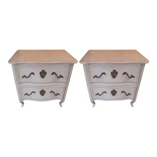 1940s French White Painted 2-Drawer Nightstands - A Pair For Sale