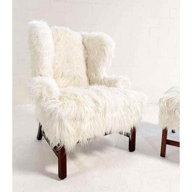 Large Wingback Chair and Ottoman in Angora Goatskin For Sale - Image 4 of 9