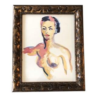 Original Vintage 1970's Female Nude Portrait Watercolor Painting For Sale