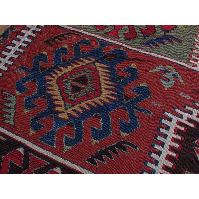 Blue Kilim with Ascending Arches For Sale - Image 8 of 10