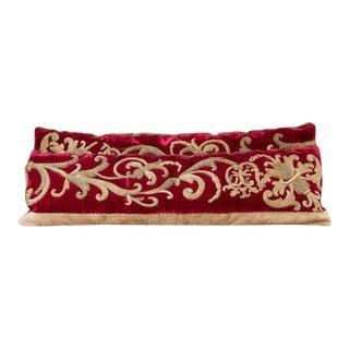 "Pair Belgian Red Velvet ""Cloth of Gold"" Pillows, circa 1900"