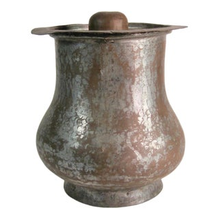 Antique Moroccan Copper Cous Cous Canister Tin Lined For Sale