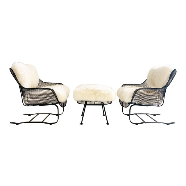 Russell Woodard Sculptura Lounge Chairs and Ottoman With Sheepskin Cushions For Sale