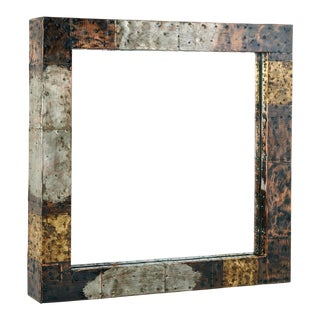 1970s Vintage Paul Evans Bold Patchwork Copper Brass & Steel Mirror For Sale