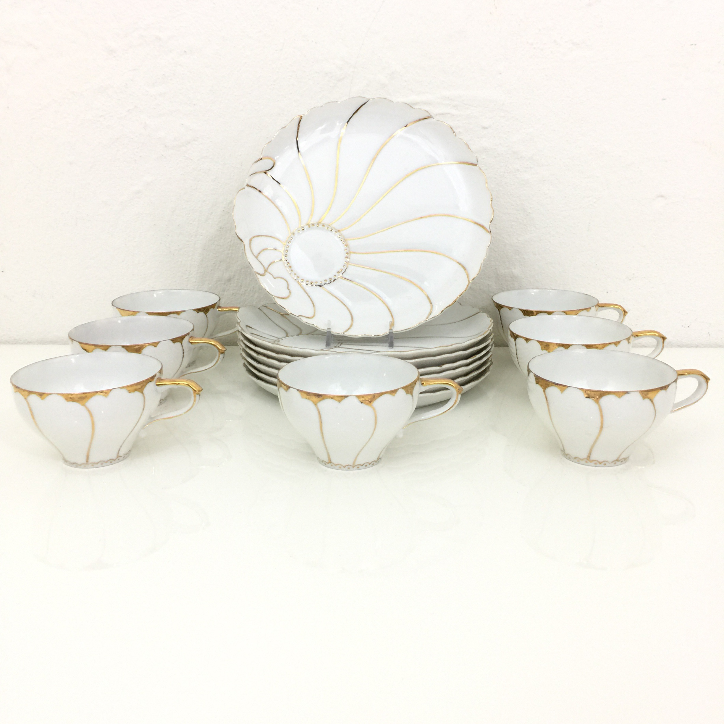 Vintage Japanese Porcelain Tea Cup \u0026 Dessert Plates - Set of 7 - Image 3 of & Vintage Japanese Porcelain Tea Cup \u0026 Dessert Plates - Set of 7 ...
