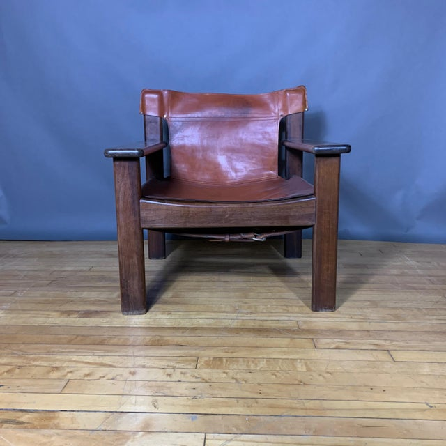 Pair 1970s Saddle Leather Arm Chairs, Mobring Style For Sale - Image 10 of 13