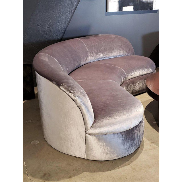 Contemporary Directional Kagan Style Restored Velvet Biomorphic Curved Sofas For Sale - Image 3 of 11