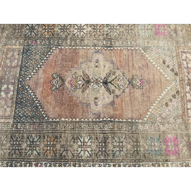 1960s Turkish Bohemian Antique Faded Floor Rug - 3′1″ × 5′1″ For Sale - Image 6 of 11